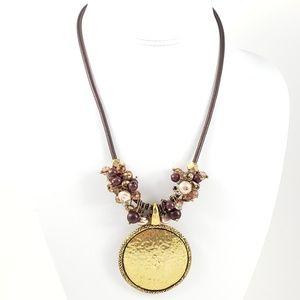 Park Lane Statement Necklace Hammered Gold Pendant